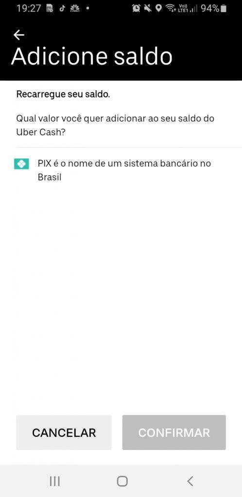 Printscrenn - App da Uber com Pix