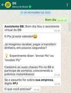 Banco do Brasil; Pix; WhatsApp