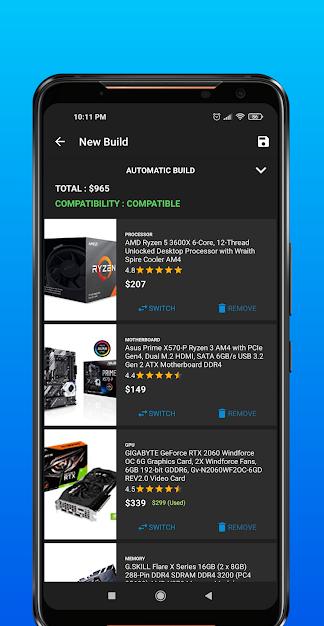 Tela do aplicativo PC Builder - Google Play